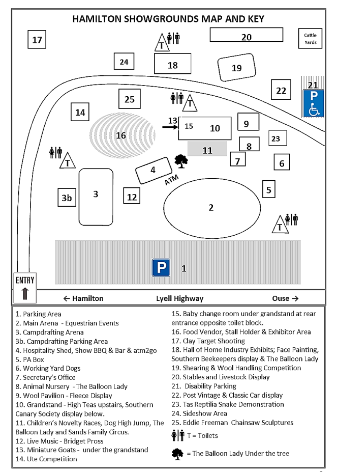 Showgrounds Map and Key 2019